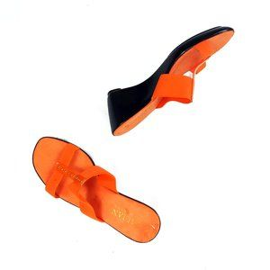 Italian Shoemakers bright orange wedge sandals